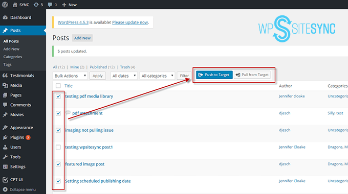 WPSiteSync by ServerPress Sync Blog Posts and Pages with Bulk Actions