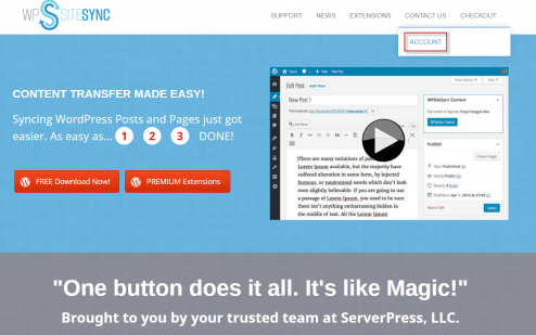 Wpsitesync by serverpress- content sync wordpress